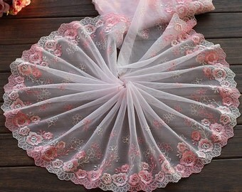 2 Yards Embroidered Lace Trim Pink Rose Floral Embroidered Tulle Lace Trim 9 Inches Wide