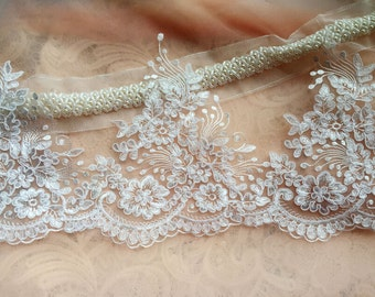 Off White Alencon Lace Trim Luxury Wedding Lace Trim Embroidered Retro Lace Bridal Lace 7.87 Inches Wide 1 Yard