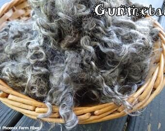 "2 oz Washed Mohair Locks in ""Gunmetal,"" Gray, Black, Silver, Natural Color, Angora Goat, Curly Locks, Blending, Spinning Locks, Doll Hair"