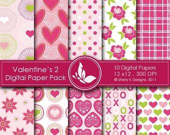 50% off Valentine's Paper Pack 2 - 10 Digital papers - 12 x12 - 300 DPI ////// 2