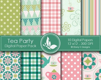 50% off Tea Party Paper Pack - 10 printable Digital Scrapbooking papers - 12 x12 - 300 DPI