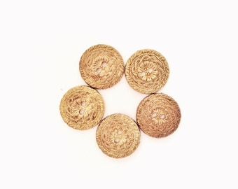 5 Gold Buttons, Flower, Flowers