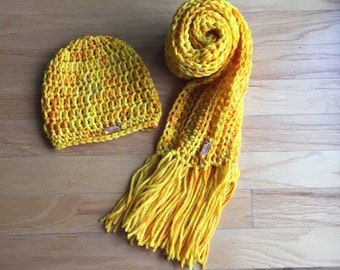 Hand Dyed Pure Merino Fringe Scarf and Beanie Hat Set, Butternut Squash Yellow Hat and Scarf Set,  Fashion Accessories