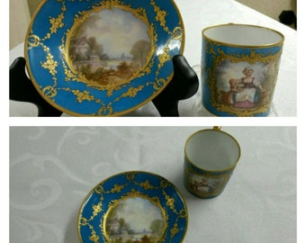 "Sevres Tea Cup and Saucer; 18th Century; Hand Painted; ""Coffee Can"" Shaped circa 1756  #DSC"