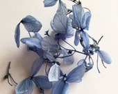 1 Pack (40 flowers)  Dying Small Leaf  Real Dry Hydrangea Glass Ball Filler Dark Blue