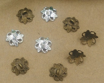 20pcs  9mm Antiqued Bronze/Silver Color Metal Bead Caps with  Bails