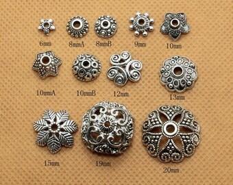 20pcs Antiqued Silver  Color Round Shape Beads Caps