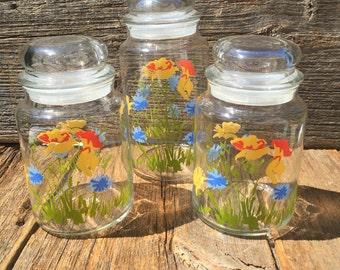 Floral Canister Set, Glass, Jar, Storage