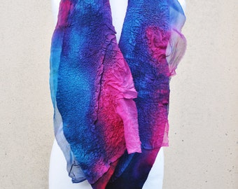 Beautiful shawl, nuno felted scarf, silk, wool, nuno, felted, gift, fibre art, purple, pink, turquoise