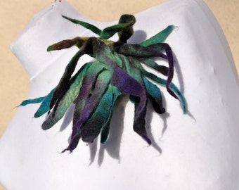 Felt flower, brooch, flower, green, purple