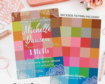 color block bridal shower invitation bachelorette hen party wedding invite baby shower pre-baby high tea evite couples coed bash (item 311)