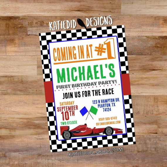 Race car birthday invitation Formula One Car baby boy shower birthday party 298 go kart checkered flags bash racecar diaper couples red