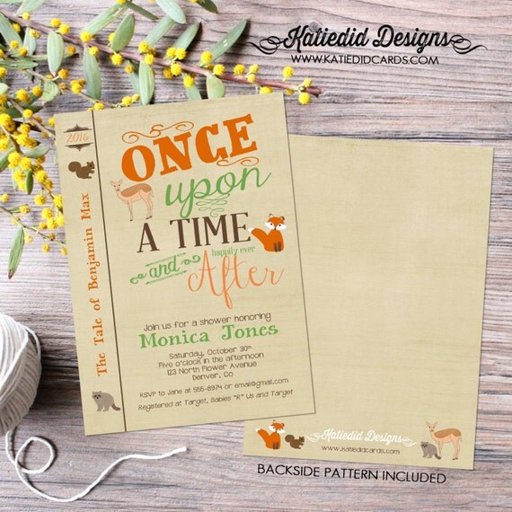 storybook baby shower invitation boy woodland animals fox squirrel cover bring a book couples diaper (item 1245) shabby chic invitations