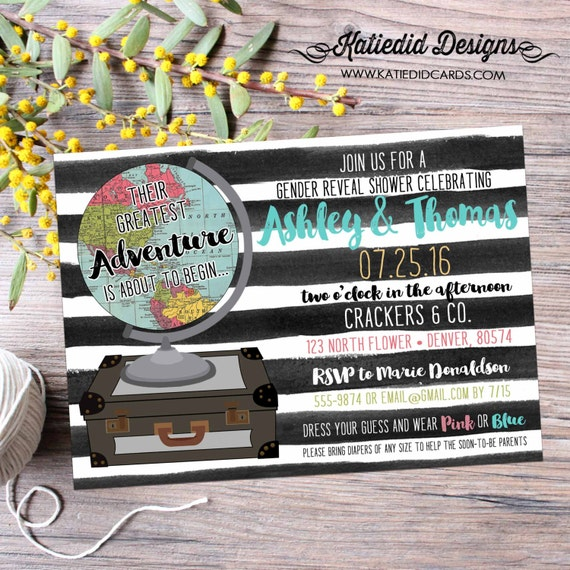 world map baby shower adventure theme oh the places you'll go baby shower surprise gender reveal black white stripes 1456 Katiedid designs