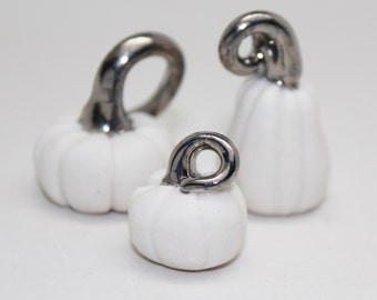 Tiny White Gold Pumpkins, Handmade Porcelain Miniature, Christmas Tree Ornaments