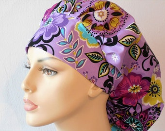 Surgical Bouffant Scrub Hat Purple Floral Medical Scrub Hat Made in USA