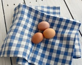 Blue check tea towel, kitchen towel, checkered towel, blue cotton towel, linen towel, cotton towel, farmhouse linen, gingham towel, plaid