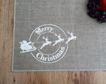 Christmas placemats, set of 4, screen printed place mats, linen place mats, table mats, christmas table linen