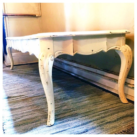Shabby Chic Coffee Table Nz: Shabby Chic Long Wooden Coffee Table Scalloped Solid