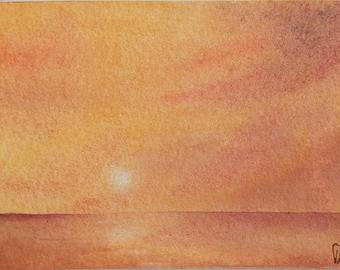 Original ACEO watercolor painting - Mahalo