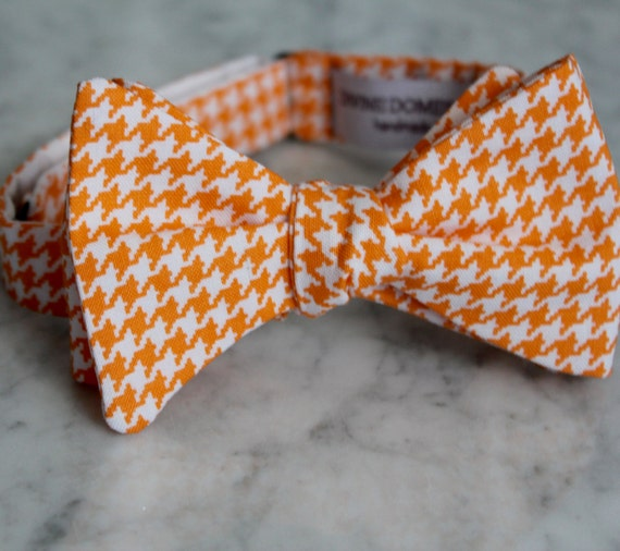 Tangerine Orange and White Houndstooth Bow Tie - Clip on, pre-tied with strap or self tying