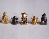 5 Lord Ganesh Small Mini Statues Hindu Bronze Brass Set Jewelry Craft Supplies