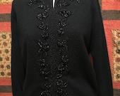 Vintage Black Beaded Cardigan Sweater  Charles & Co  LG  (42)  1950s-60s