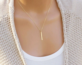 Vertical Skinny Bar Necklace, Long Gold Bar Necklace, Layering Necklace, Silver Bar Necklace, Minimalist Jewelry