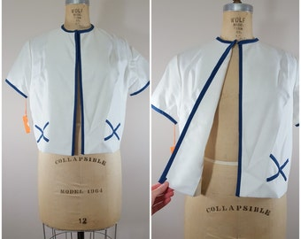 Vintage 1960s mod Jacket / NWT / White and Navy Blazer / Medium