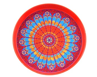 Mid Century Vintage Red Enamel Metal Serving Worcester Ware Tray with Retro Flower Design / Psychedelic.. Made in Great Britain.