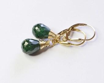Natural Emerald Earrings Wire Wrapped Dangle Earrings  Gemstone Wire Wrapped Teardrop