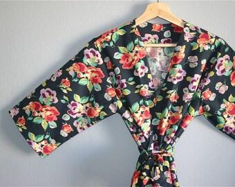 SALE. Blue Floral Kimono Robe.  Blue Kimono Robe. Blue Bridesmaids Robes. Blue Floral Bridesmaids Robes.