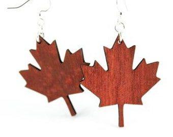 Maple Leaf - Laser Cut Earrings from Reforested Wood