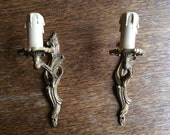 Vintage French electric lamp wall sconces faux candle brass light circa 1960-70's / English Shop