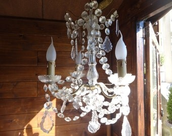 Vintage French hanging crystal venetian glass chandelier interior electric hanging lamp circa 1930-40's / English Shop