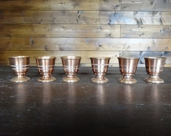 Vintage Oriental Arabian small copper tea cups or egg cups beakers goblets circa 1960-70's / English Shop