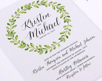 Printable Wedding Invitation - Watercolor Wreath with Calligraphy