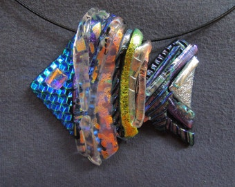 Blue Headed Shimmering Tropical Fish in Dichroic Glass