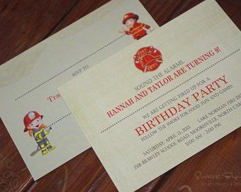 PRINTED Fireman Birthday Invitations, set of 25
