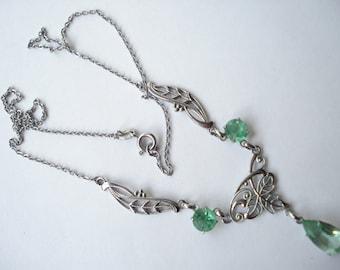 Art Deco Pendant Necklace Pale Green Glass 20's 30's