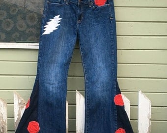 SALE! Upcycled bell bottom jeans 'Must Have Been the Roses', hippie, boho, gypsy, Grateful Dead, rose embroidery, OOAK, gypsy