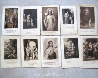 10 Antique French Paper Holy Cards 1st Holy Communion Cards Plus Others Dating From 1913 to 1932