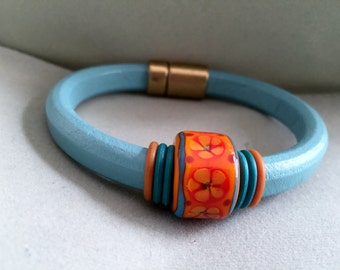 Lampwork and Leather Bracelet
