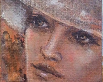 Romantic lady portrait painting original art 7 x 5""