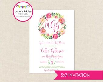 Monogram Baby Shower, Watercolor Baby Shower Invitation, Baby Girl Baby Shower, Baby Shower Invitation, Lauren Haddox Designs