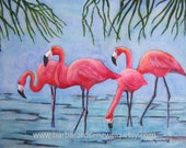 Flamingo Print, Bird Painting, Flamingo Wall Art, Flamingo Watercolor, Beach Decor, Tropical Bird, Flamingo Decor, Coastal Art, Wildlife Art