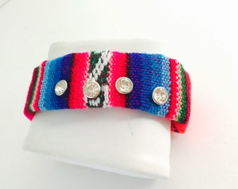 Multicolor Boho Bracelet, Aguayo Fabric, Clear Rhinestones, Clearance Sale, Hand Made in The USA, Item No. D154
