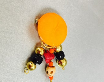Halloween Motif Brooch, Skeleton, Orange Button, Black Beads, Gold Tone, Hand Made Accessory Item No. De312