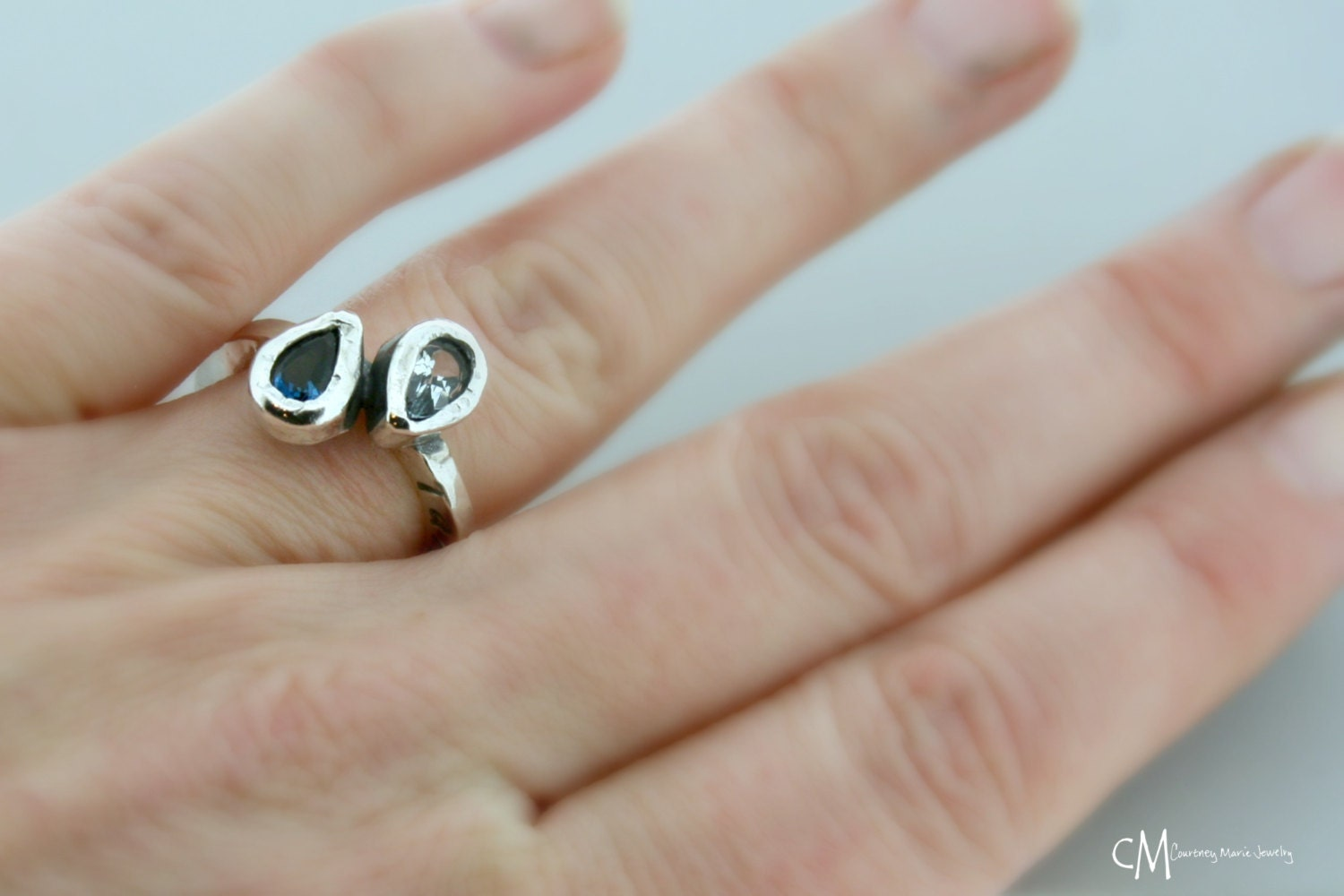 mothers ring two stone ring stackable by courtneymariejewelry. Black Bedroom Furniture Sets. Home Design Ideas