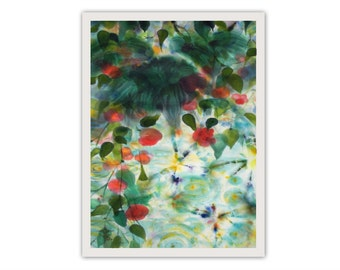 Exotic landscape, red flowers, relax, repose, office decor, giclee print on paper by silk painting, meditation, aquarelle style, asian